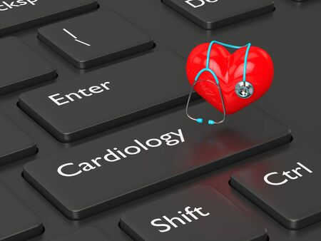 diastolic: 3d rendered keyboard with heart and stethoscope. Cardiology concept. Stock Photo