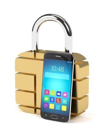 call log: 3d rendering of sim padlock and mobile phone over white background Stock Photo