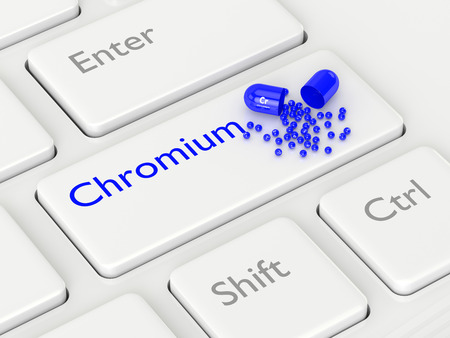 dietary: 3d rendering of chromium pill lying on keyboard. Concept of dietary supplements