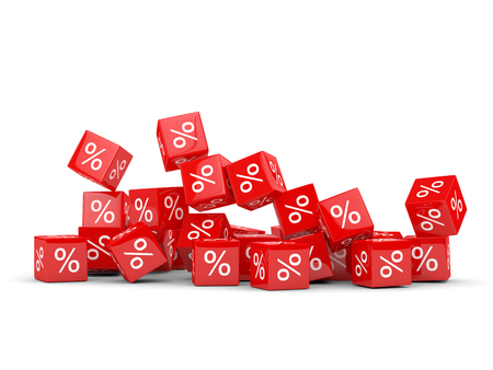 falling cubes: 3D rendering of falling cubes with percent sign over white