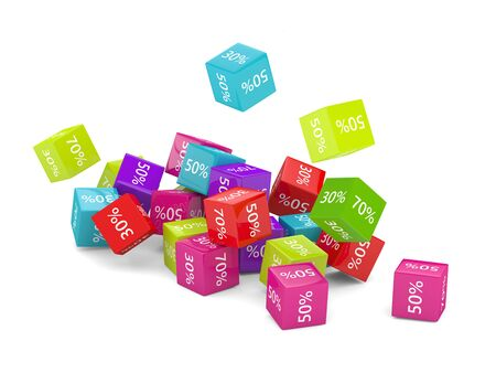 3D rendering of falling cubes with discount sign over white Stock fotó