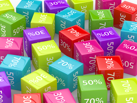 3D rendering of  colorful cubes with discount sign over white