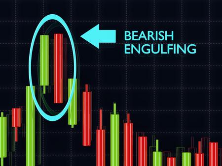 bearish: 3d rendering of forex candlestick bearish engulfing pattern over dark background