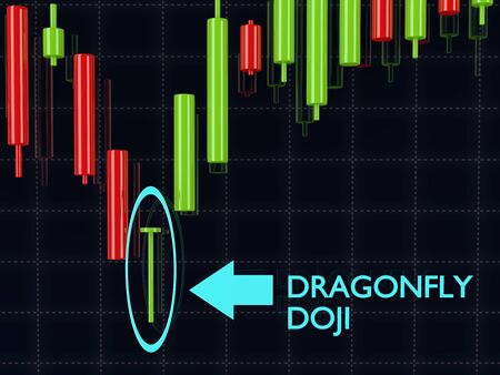 3d rendering of forex dragonfly doji candlestick pattern over dark background