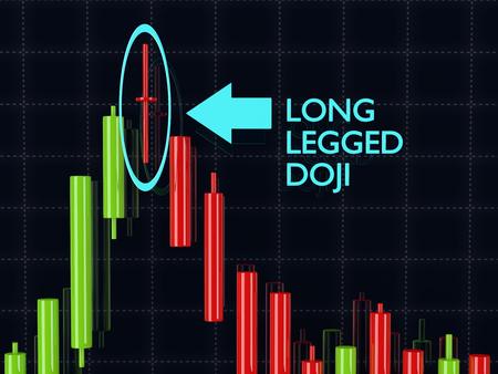 legged: 3d rendering of forex long legged doji candlestick  pattern over dark background Stock Photo