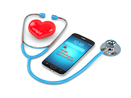 3d rendering of blue stethoscope, mobile phone and cardiologist consultation reminder Stock fotó