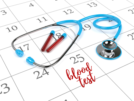 reminding: 3d rendering of blue stethoscope, calendar, blood vials and reminding note