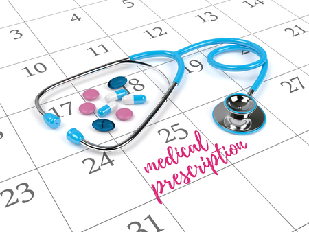reminding: 3d rendering of blue stethoscope, calendar and reminding note