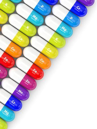 representación 3D de píldoras con suplementos dietéticos acostado en la tabla