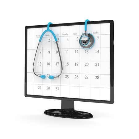 appointments: 3d rendering of computer monitor with calendar and stethoscope isolated over white background