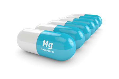 dietary: 3d rendering of magnesium pills over white background. Concept of dietary supplements Stock Photo