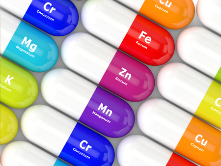 dietary: 3d rendering of pills with dietary supplements lying on table