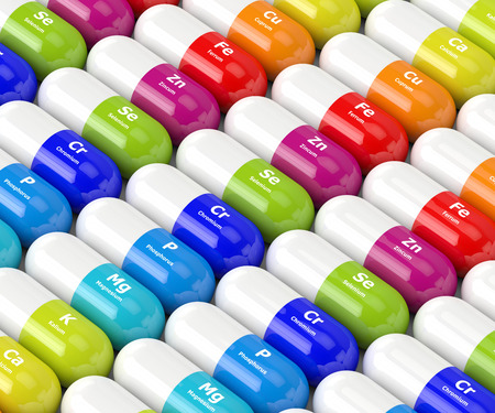 3d rendering of dietary supplements in row
