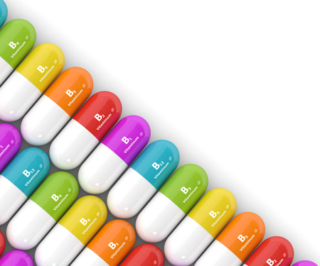 3d rendering of group B vitamin pills with place for text