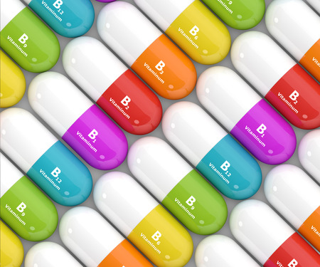 thiamine: 3d rendering of group B vitamin pills over white background