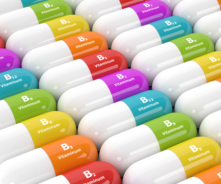 vitamin pills: 3d rendering of group B vitamin pills in rows