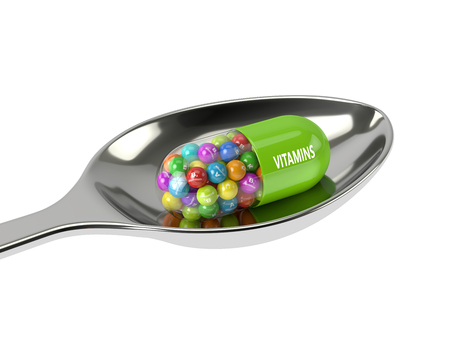 b1: 3d rendering of vitamin pill with granules on spoon over white background