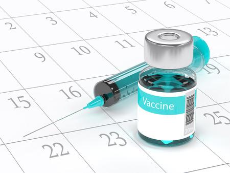 백신 유리 병 및 주사기 흰색 배경 위에 절연의 3d 렌더링