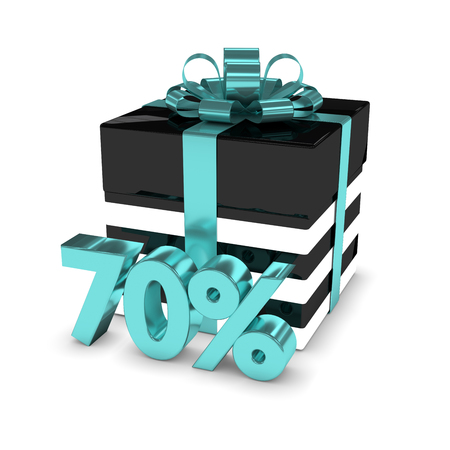 3d rendering of gift box with 70% discount isolated over white background