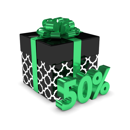 3d rendering of gift box with 50% discount isolated over white background