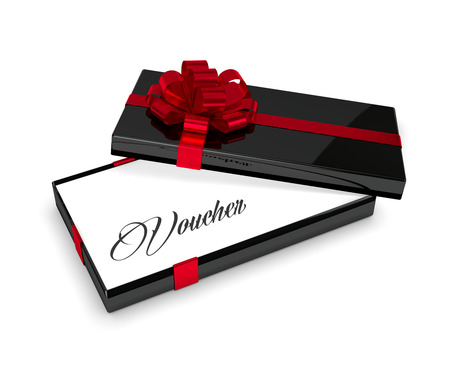 festive occasions: 3d rendering of voucher in elegant gift box with open lid isolated over white background