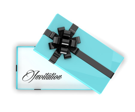 festive occasions: 3d rendering of invitation in elegant gift box with open lid isolated over white background Stock Photo