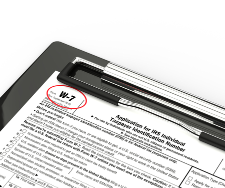 identification: 3d rendering of w-7 form on clipboard isolated over white background Stock Photo