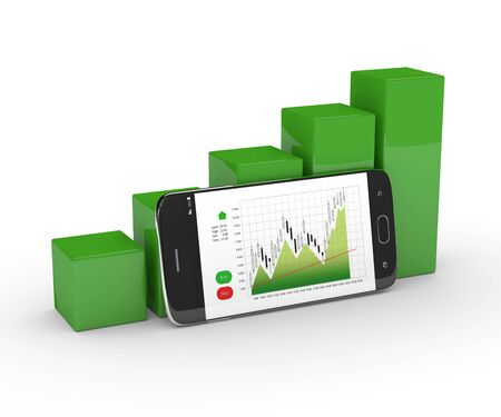 stockbroker: 3d rendering of chart growth with mobile phone isolated over white