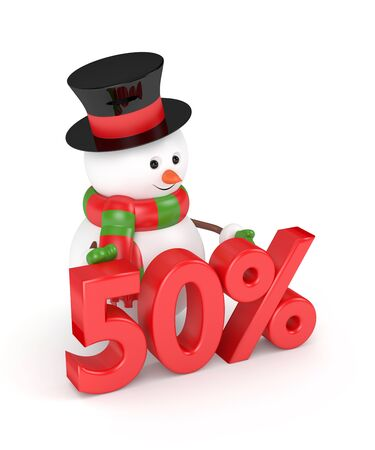 sell out: 3d rendering of snowman with discount isolated over white background