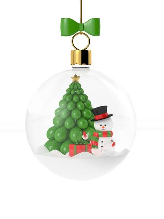 3d rendering of a snowman in a glass christmas bauble over white. Christmas concept.