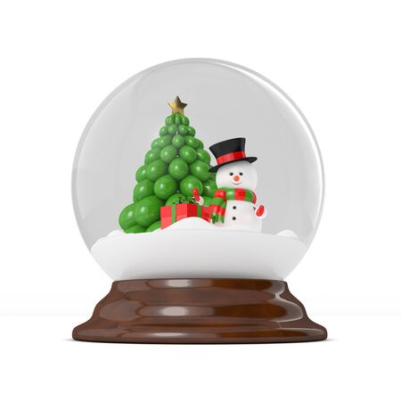 snowdome: 3d rendering of a snowman in a snow globe over white. Christmas concept.