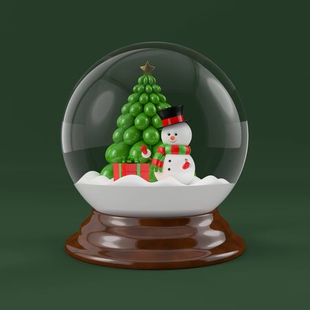 3d rendering of a snowman in a snow globe. Christmas concept.