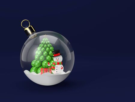 3d rendering of a snowman in a glass Christmas bauble. Christmas concept.