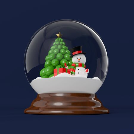snowdome: 3d rendering of a snowman in a snow globe. Christmas concept.