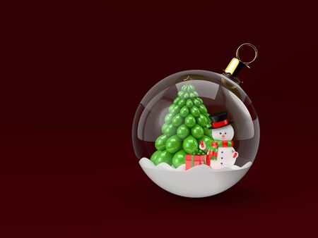 snowdome: 3d rendering of a snowman in a glass Christmas bauble. Christmas concept.