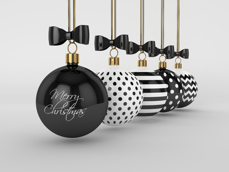 3d rendering of christmas, black and white baubles over gray background Stock Photo