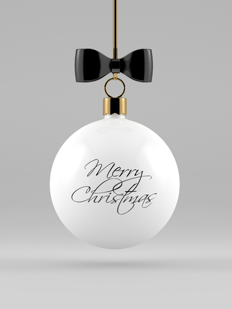 rendering: 3d rendering of christmas white bauble over gray background Stock Photo