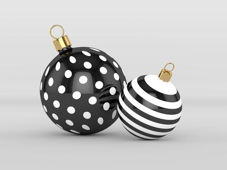 3d rendering of christmas, black and white baubles over gray background Zdjęcie Seryjne