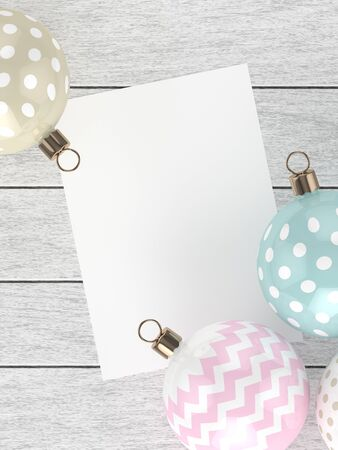 merry chrismas: 3d rendering of christmas pastel baubles over wooden background with empty sheet