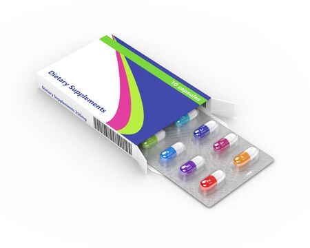 selenium: 3d rendering of dietary supplements pills blister in pack isolated over white