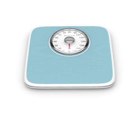 analog weight scale: 3d rendering of weight scale isolated over white background Stock Photo