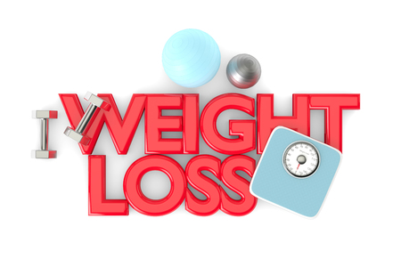 pairs: 3d rendering of weight loss text with dumbbells, weight scale and exercise ball over white