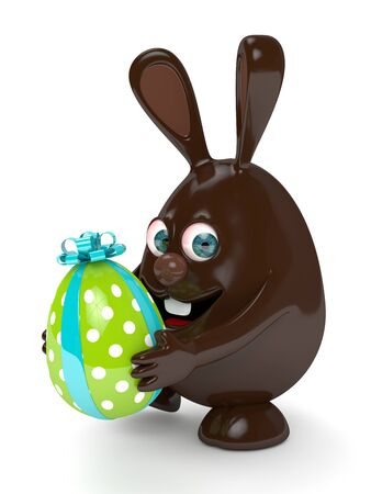 3d rendering of Easter chocolate bunny holding present egg isolated over white background Stock Photo