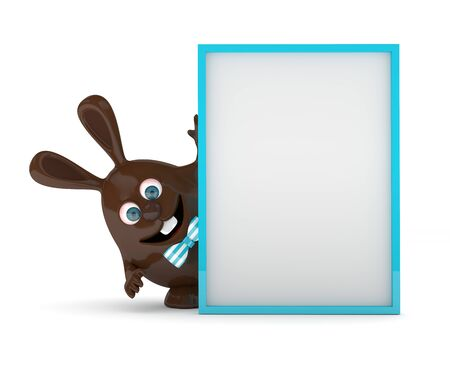 rendering: 3d rendering of Easter chocolate bunny egg holding advertising board Stock Photo