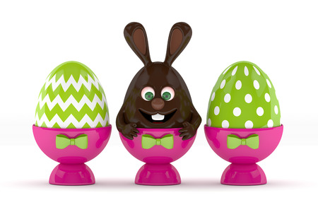 3d rendering of Easter chocolate bunny with painted eggs in egg holders isolated over white background