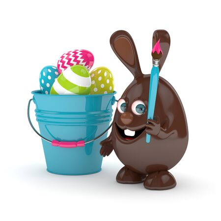 brown hare: 3d rendering of Easter chocolate bunny with pail and  painted eggs over white Stock Photo