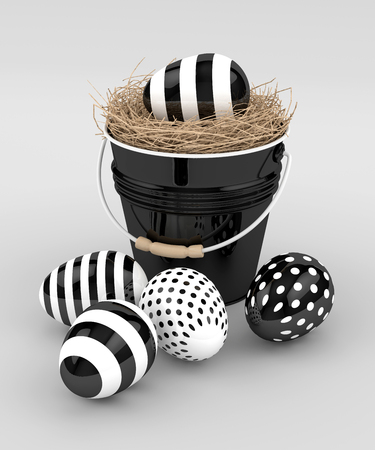 3d rendering of Easter eggs with decorative bucket over gray background Stock Photo