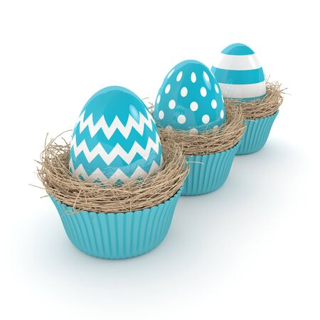 nest egg: 3d rendering of Easter eggs in muffin nests isolated over white background
