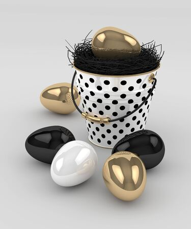 golden egg: 3d rendering of Easter elegant eggs and bucket over gray background Stock Photo