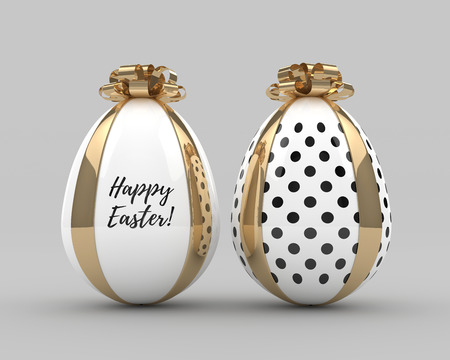 3d rendering of Easter elegant eggs with bows over gray background